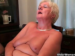 64 year old and British hot xxx porn mom san Sandie rubs her old pussy