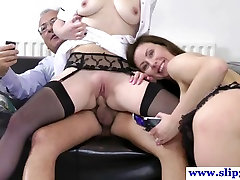 Old euro dude fucking two younger pussies
