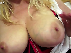 Naughty British MILF playing with her wet pussy
