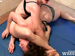 Female girl and dog com and Grappling
