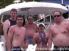 many random women flashing their perfect tits on lake in