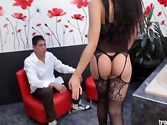 Mariana loves huge cock in her tight tranny ass