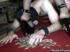 Mistress Tangent strapon footworship femdom