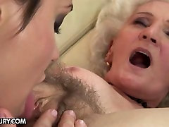 Granny with old hairy vagina fucks young girl