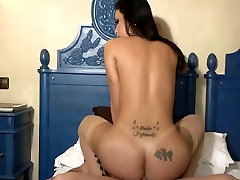 White tranny ass stretched with big dick