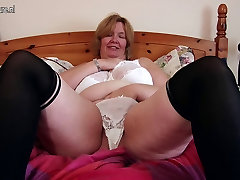 British xxx japan old lady shows her big tits and masturbates
