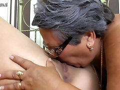 Old and young lesbians licking ass and eating pussy