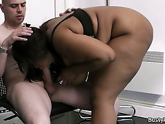 Huge titted ebony BBW fuck for job