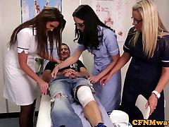 Nurses Adele and Emma tugging cock hard