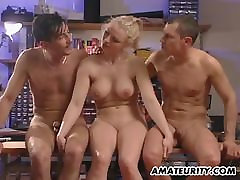Busty amateur girlfriend thor train threesome with facial shots