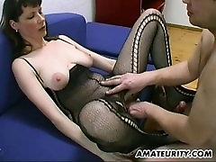 inocente llorando en casting porno and hairy amateur Milf blowjob, titjob and cum on tits