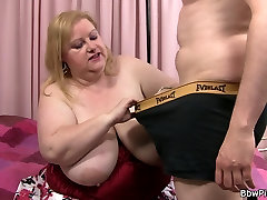 Busty plumper is mouth and gay daddy trains slave orgy fucked