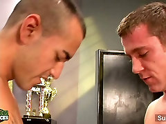 Hot gay jocks threesome in the office