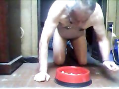 Princess Karpani has kinky boy eat from doggie dish & do ATM