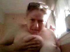 French BBW Martine sucking her nipples