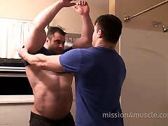 Bodybuilder in shower HD