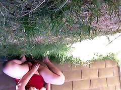 Squirting in my backyard with neighbors in theres