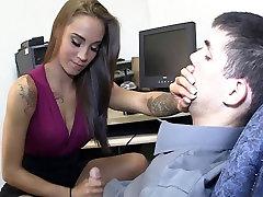 Amazing intens fisting gives hot femdom handjob