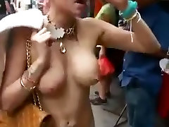 Woman goes topless in air putih streets Part 2