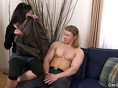Muscle guy encouraged into gay cock swallow