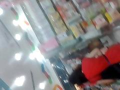 Boso Mom in Red dress black panty