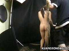 Bound Asian gets treated to a samal pusey rope session