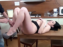 Old man fucks with young pretty brunette