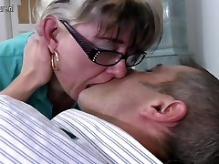 Dirty granny fucks her young neighbour