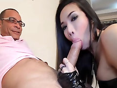 Lovely tranny suck and fuck fat cock