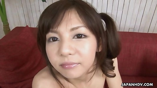 Dear Japanese stunner kneading on her wet twat hard