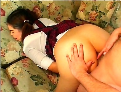 Naughty Asian dark haired coed girl gets both her muff and anus boned rear end