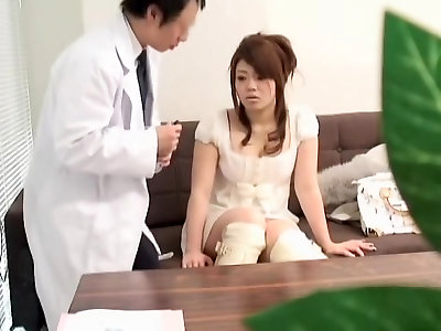 Mischievous therapist plays with a super-fucking-hot Asian honey during medical check-up