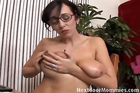 Next Door Mommies: Giant breasted mother strokes a black shaft