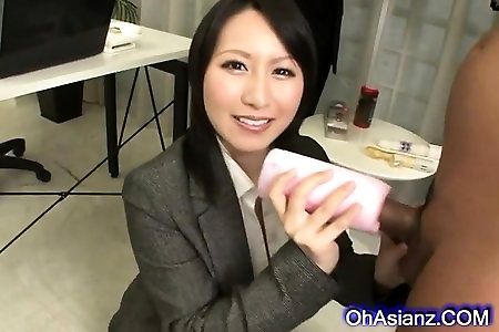 handsome asian honey makes a engorged manhood jism stiff