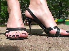 Walking in high heel sandals