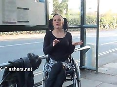 Paraprincess outdoor exhibitionism and flashing wheelchair bound babe show