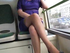 Flashing stockings in bus