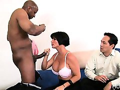 Hubby watches while black guy fucks wife