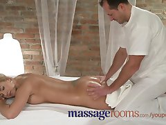 Massage Rooms Tanned shaved busty young blonde intense orgasm