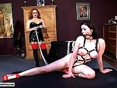 Mistress Gemini binds a luscious bondage slut in her dungeon