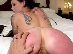 Caned hard on her young bare ass - cute girl striped pink - hot welts