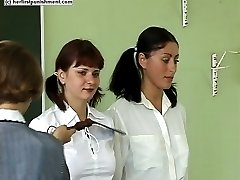 Classroom beating for pretty school girl - hard lashes on open palms - tears of pain