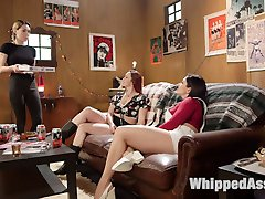 Bella Rossi and Lea Lexis are waiting for their pizza, but when delivery girl Lily LaBeau arrives, Bella and Lea decide they're hungry for more than their food. These horny lesbian sluts tag team Lily, finger banging her to multiple orgasms and making her lick their pussies while they flog and crop her tits and ass. Next Lily sucks their strap-ons until Bella and Lea are ready to fuck her holes. After taking turns fucking Lily in her pussy and ass, they double penetrate her with their strap-on cocks. Lily comes over and over until Bella and Lea decide they're done with her and ready for their pizza.