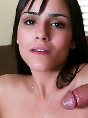 Naughty amateur Camilla Bella fills her mouth with a dick and later got her pussy fucked madly