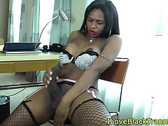 Busty black tranny barebacking tight ass