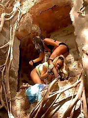 Sexy domme takes her lesbian slave to the old ruins for some painful nipple and pussy clamping