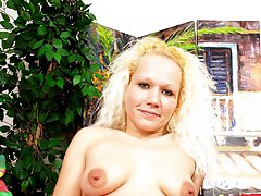 Bushy blonde spreads her hairy holes for some shagging!