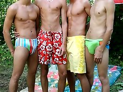 What better way to spend a hot Summers day than blowing your buddies in a park. These four...