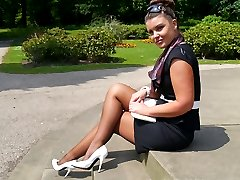 Sexy Karen gets some hot sun on her shiny nylon legs and perfect white stilettos