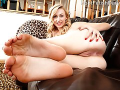 Alexa Grace loves making her boyfriend Mickey go wild for her feet. She likes it when he worships her toes right in her sandals. After he gets a ball draining footjob, she begs him to fuck her perfect little pussy and drop his load on her feet.